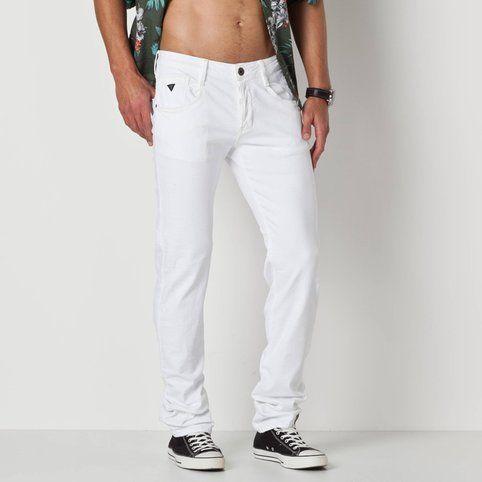 Pantalon Guess Extensible Blanc L32 Coton Jean Slim Homme DE9HW2I