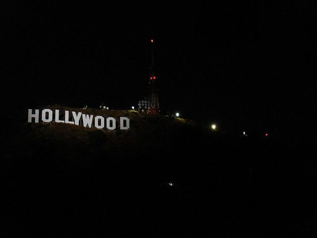 Hollywood Sign Lit Up At Night