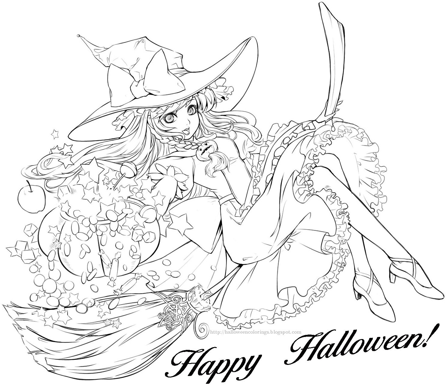 HALLOWEEN COLORING Page Of A Gorgeous Witch On Broomstick