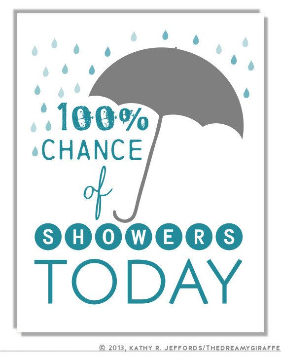 Funny Bathroom Wall Art. 100% Chance of Showers  Typographic Print. Decor For Bathroom. Weather Quote Sign. Poster Gift For Meteorologist.