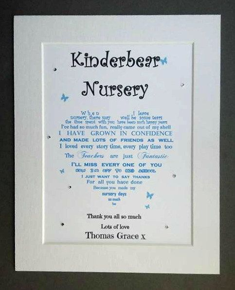 Personalised Nursery Leaving Gift Unframed Kindergarten Thank Etsy Preschool Teacher Gifts Leaving Gifts Kindergarten Gifts