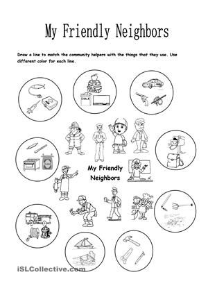 this worksheet focuses on the community helpers and the things  this worksheet focuses on the community helpers and the things that they use children will