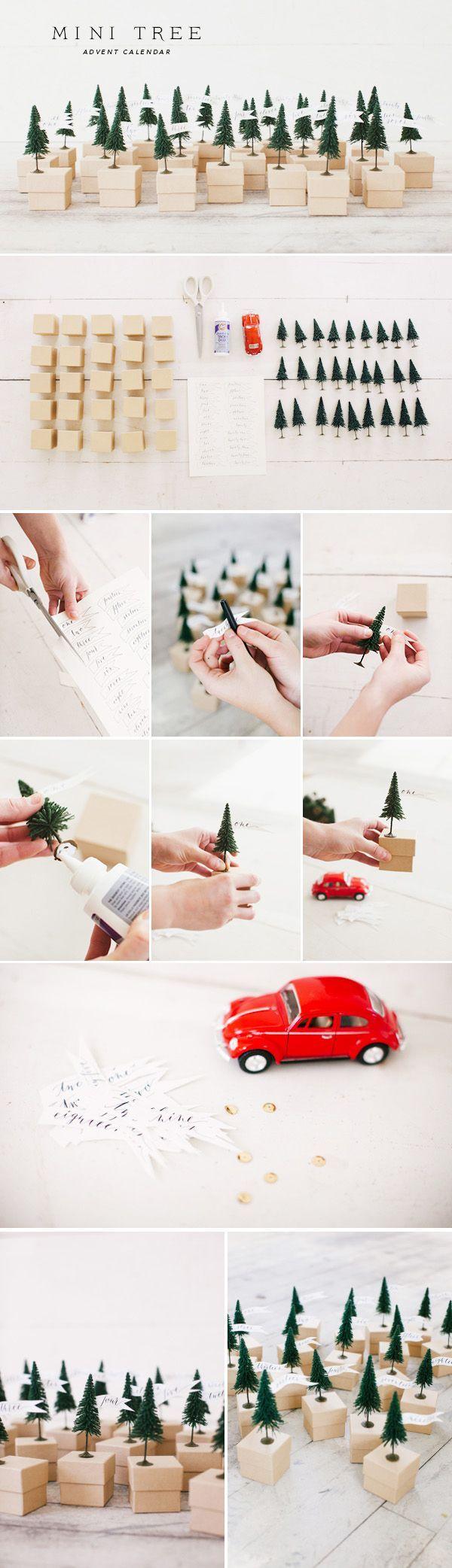 adventskalender basteln ideen mini boxen weihnachtsbaum. Black Bedroom Furniture Sets. Home Design Ideas