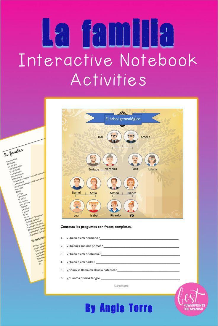 Spanish Family La Familia Interactive Notebook Activity