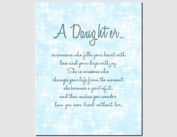 Daughter Print Gift For Wedding Birthday By Vtdesigns Poems Verses