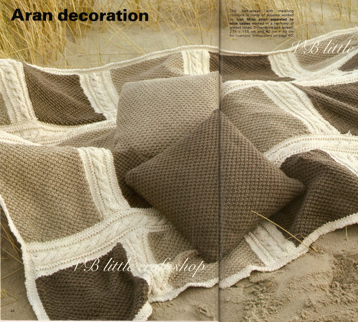 Aran bed cover and cushions knitting pattern. Instant PDF download ...