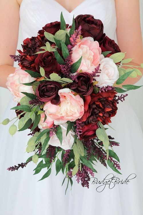 Burgundy Marsala Wine and Blush Pink cascading teardrop Wedding Flowers with greenery // rustic, organic, fall, autumn