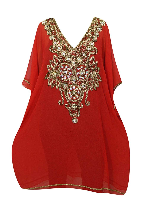 d0d4b82b8e Mogul Interior Women Short Caftan Dress Red Georgette Golden Sequin Work Resort  Kaftan One Size: Amazon.co.uk: Clothing