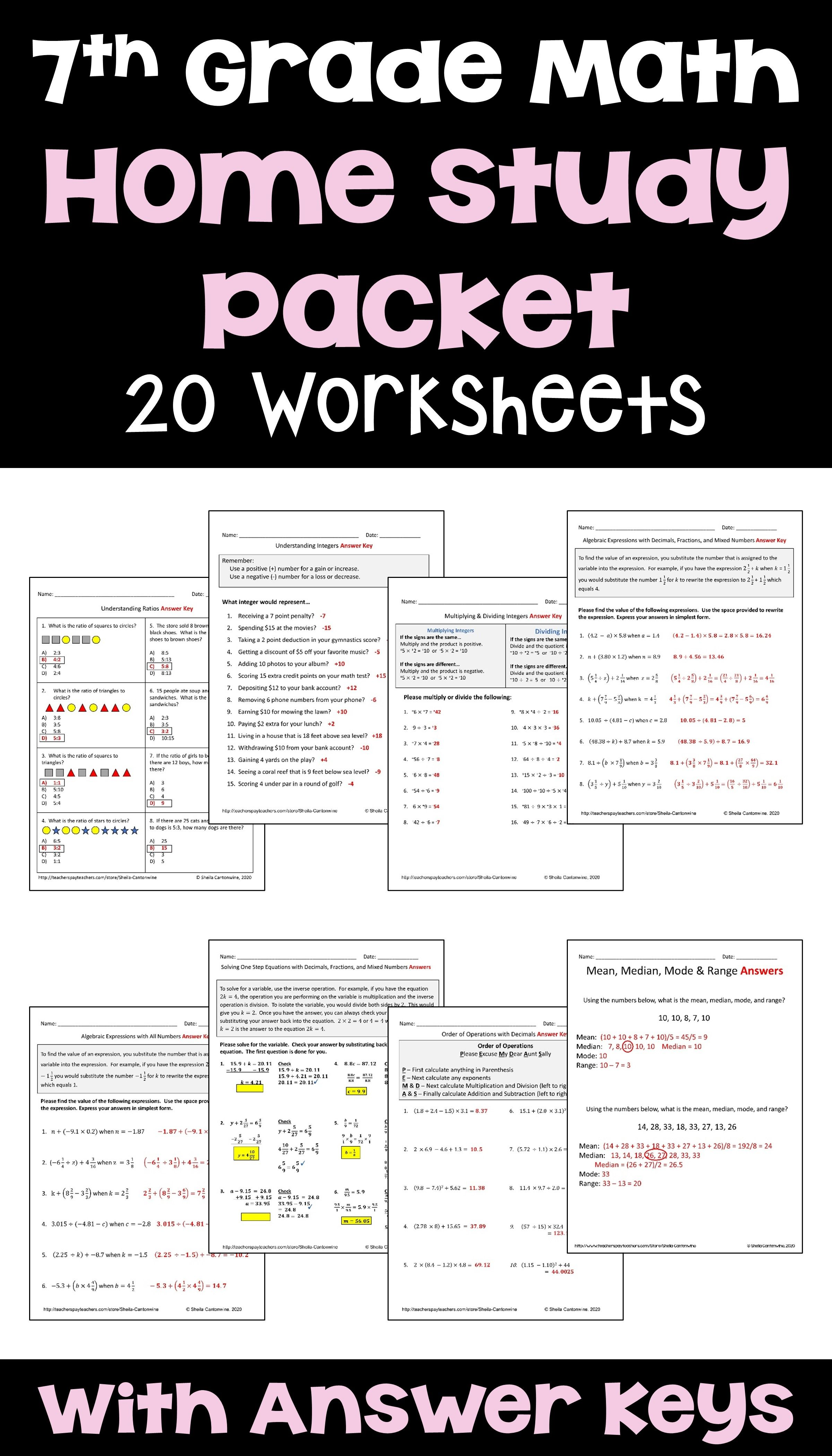 7th Grade Math Home Study Packet For Distance Learning