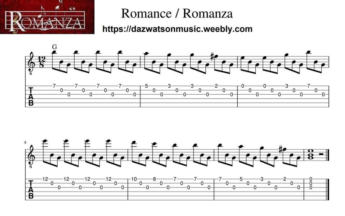 Romance Romanza Easy Fingerstyle Guitar Tab With Images