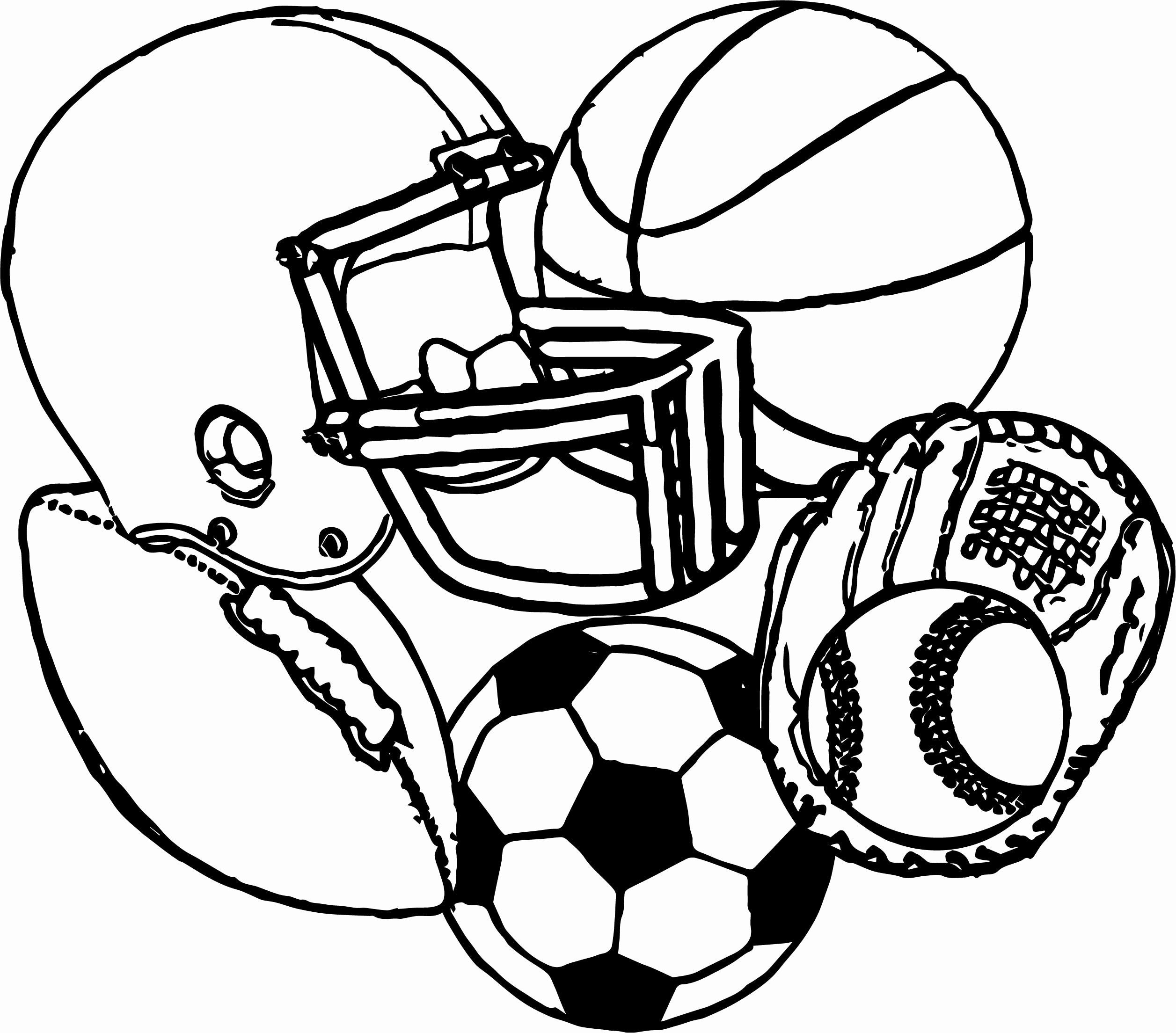 Sports Coloring Pages Free Printable Inspirational Sports Equipment Football Baseball Bas Sports Coloring Pages Football Coloring Pages Baseball Coloring Pages