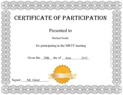 Free Printable Certificate Of Participation Award