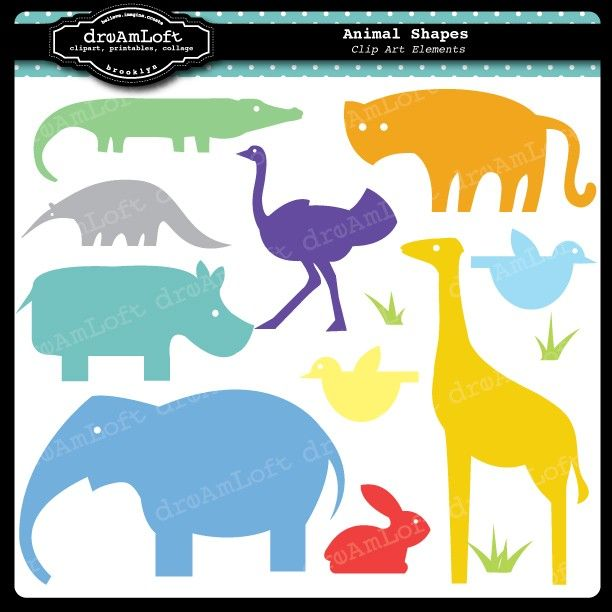 Animal Zoo Shapes Clip Art Elements Collage Sheet For Cards Stationary Invitations Scrapbooking