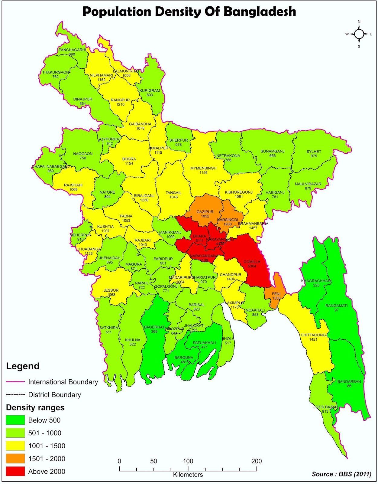 Afbeeldingsresultaat Voor Population Density Map Bangladesh - Bangladesh map