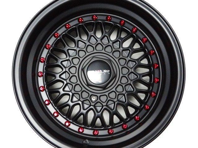 15X8 FLAT BLACK TRAKLITE CROSSTHREAD 4X100 W/ TIRES FREE WHEEL LOCKS JDM LOOK