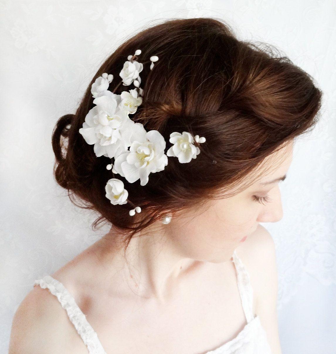 white flower for hair, bridal hair accessories, rustic