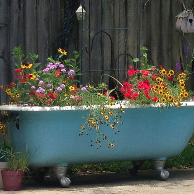 My cast iron claw foot bathtub used as a planter by my for Garden pool from bathtub