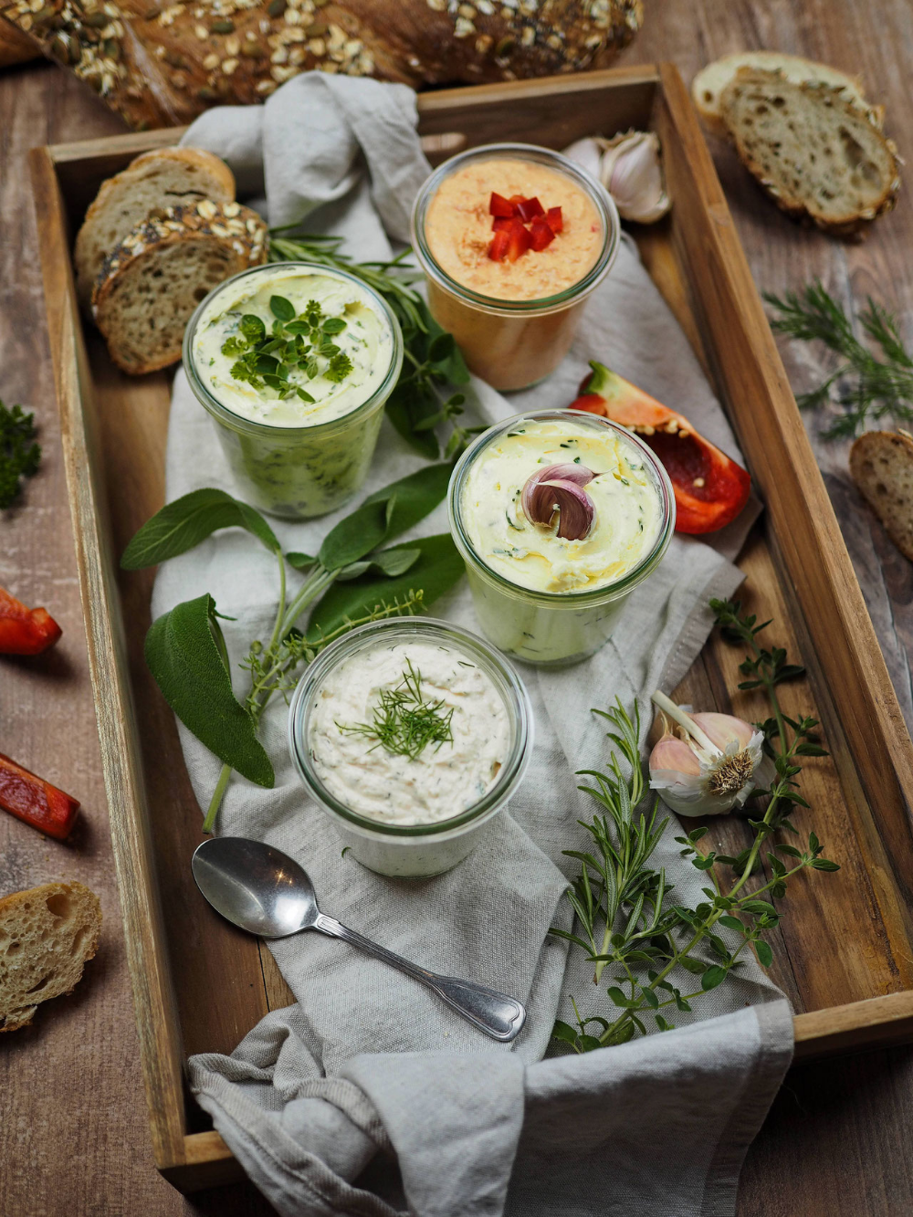 Photo of Recipe for 4 quick & savory spreads – perfect for grilling [Kräuter/Knoblauch/Lachs/Paprika-Feta]