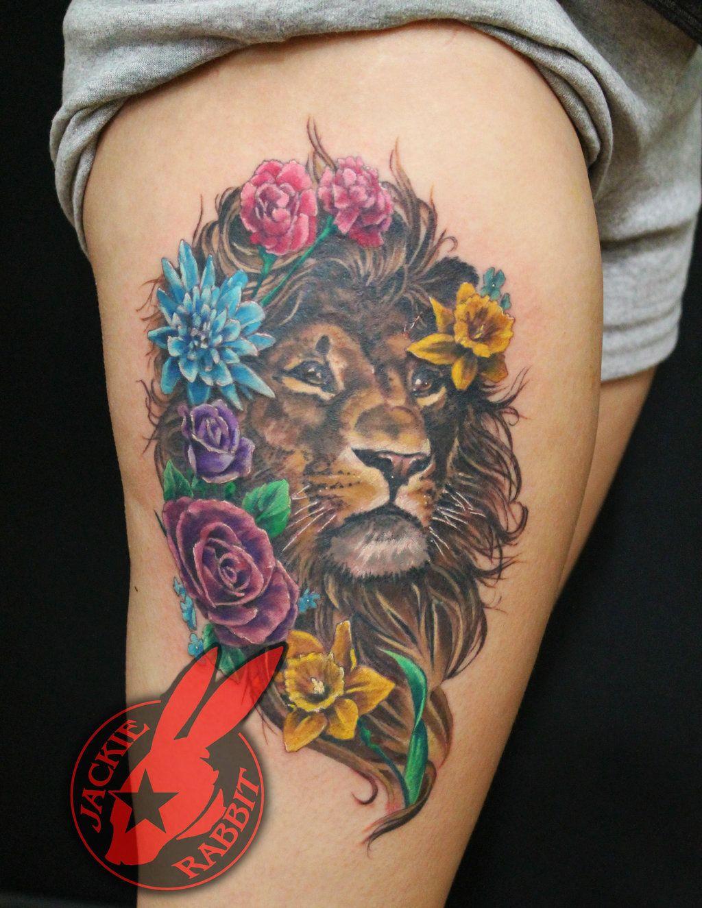 a4e616da041db Lion Portrait Flowers Tattoo by Jackie Rabbit by jackierabbit12 on