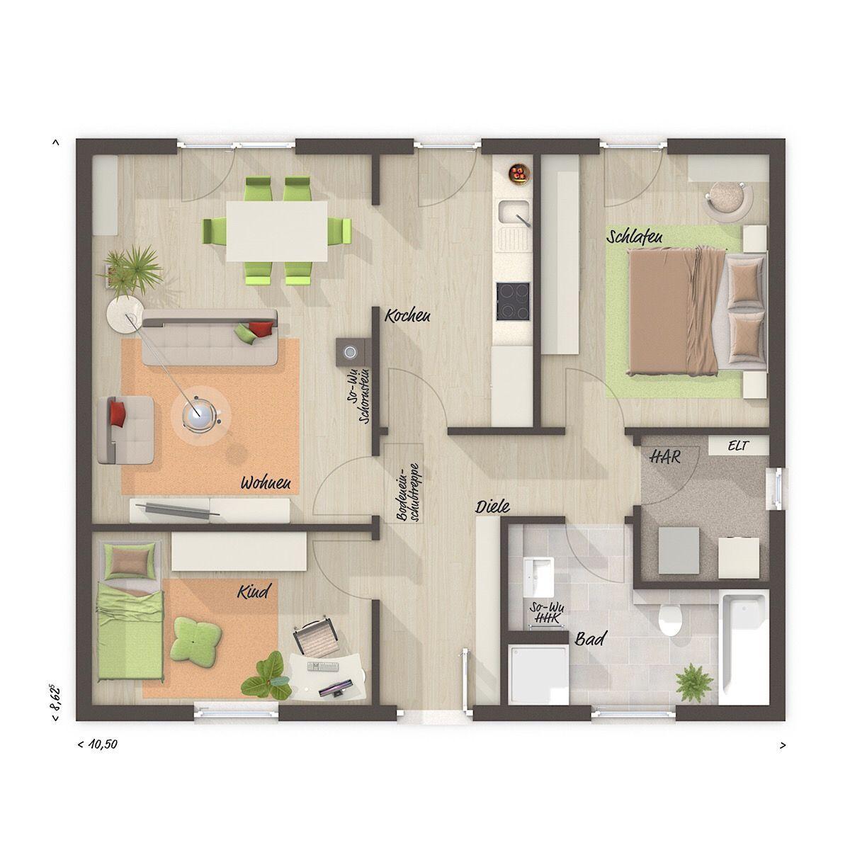 Grundriss Bungalow ebenerdig mit Walmdach & 3 Zimmer, 77