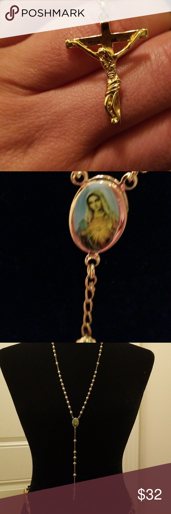 Holy virgin mary cross rosary in gold boutique my posh picks