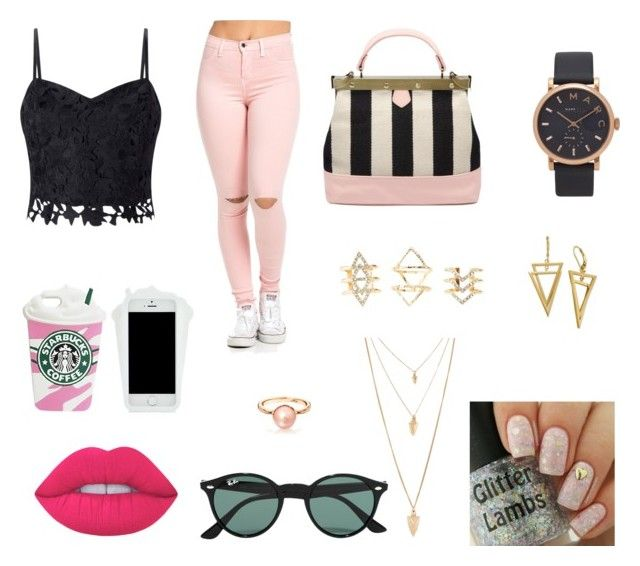 """""""Sin título #48"""" by pandita-heras on Polyvore featuring moda, Lipsy, Ray-Ban, Marc Jacobs, Charlotte Russe, Forever 21 y Lime Crime"""