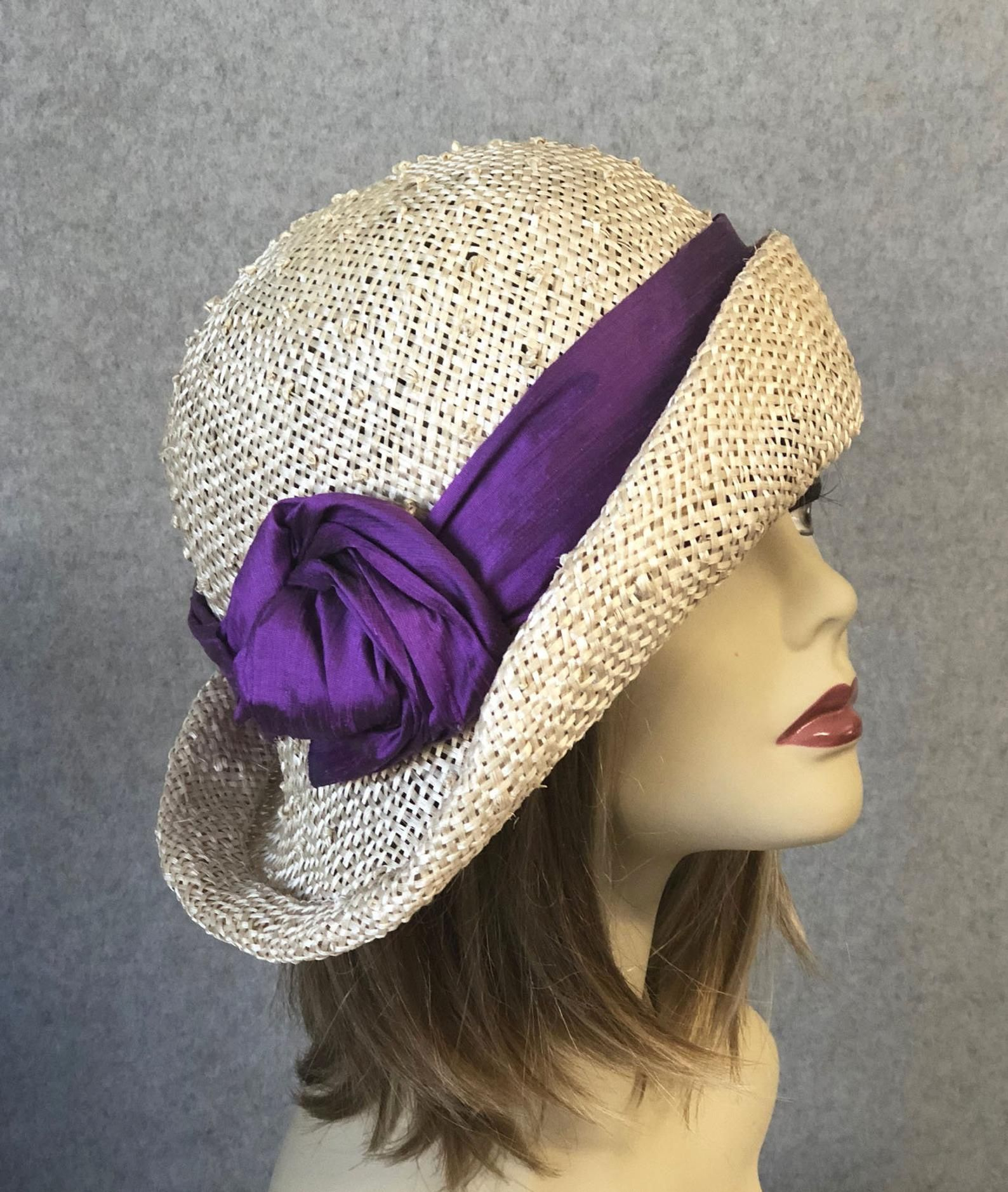 7429e45801bc6 Ann women straw hat with Purple silk dupioni trim Downton