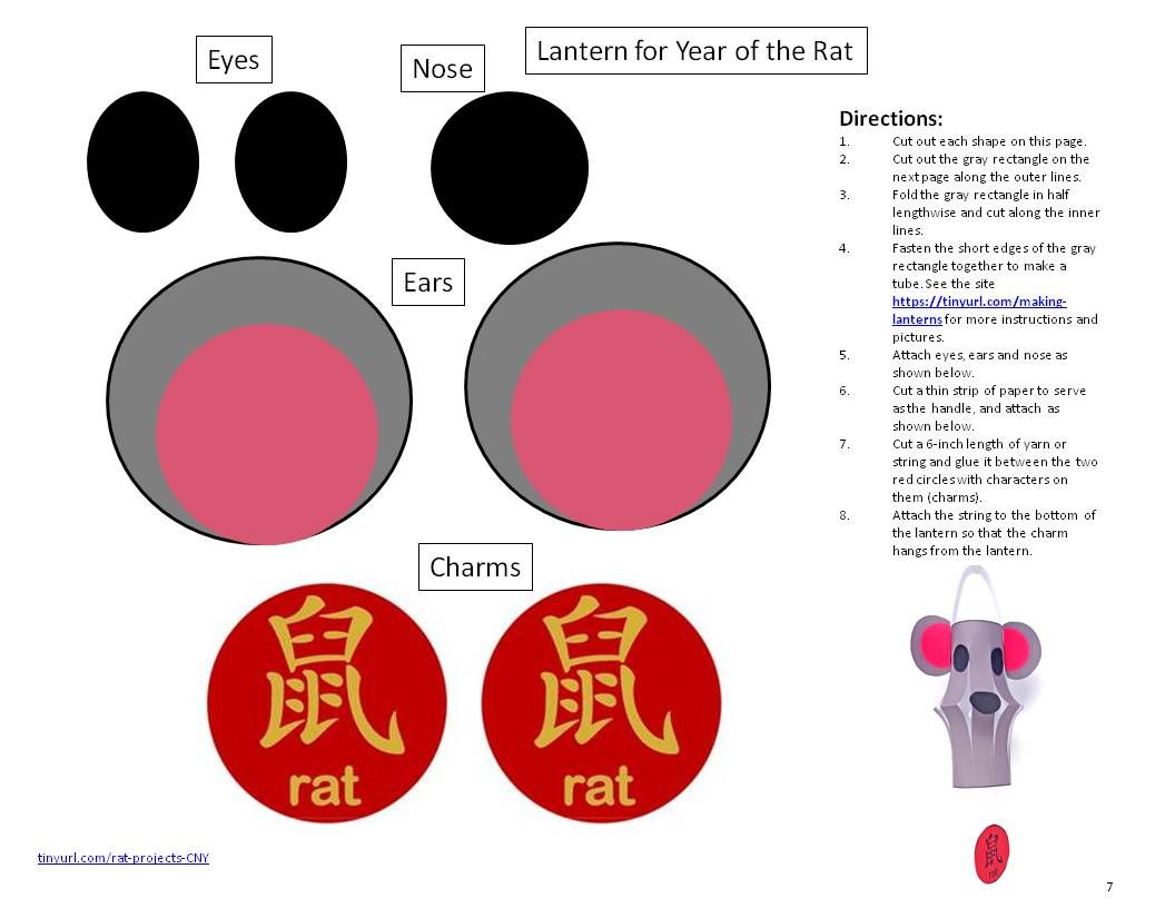 Template to Print for Year of the Rat Lantern