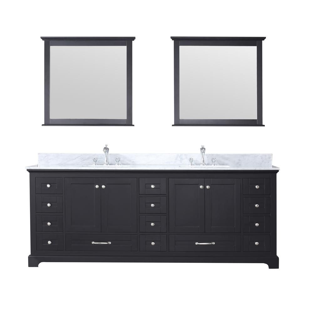 Lexora Dukes 84 In Double Bath Vanity In Espresso W White Carrera Marble Top W White Square Sinks And 34 In Mirrors Ld342284dgdsm34 Bathroom Vanities Without Tops Bathroom Vanity Base Square Sink