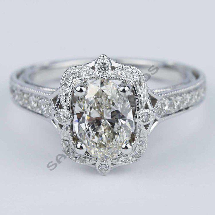 10K Real White Gold Antique Halo Designer Wedding Engagement