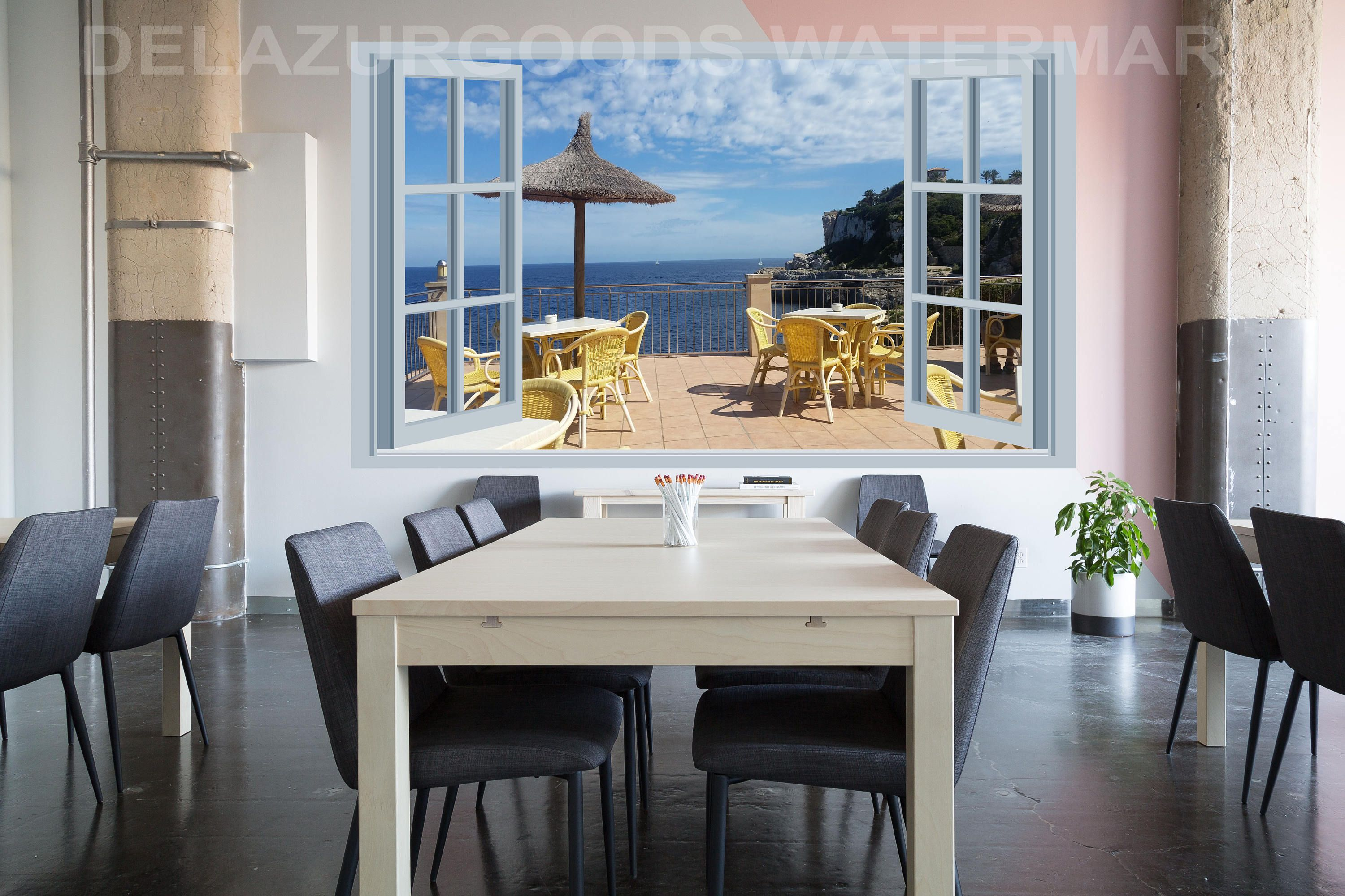 Terrace Window View Wall Decal