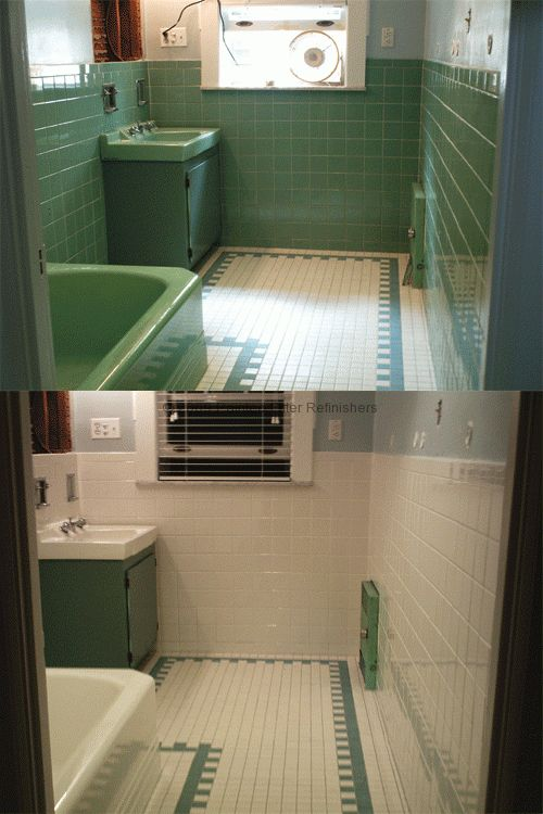 Example Of Tile Paint Before And After In A Bathroom Bathroom Design Options Bathrooms Remodel Reglazed Bathroom Tile