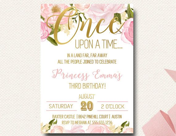 Once Upon A Time Storybook Birthday Invitations Pink And Gold