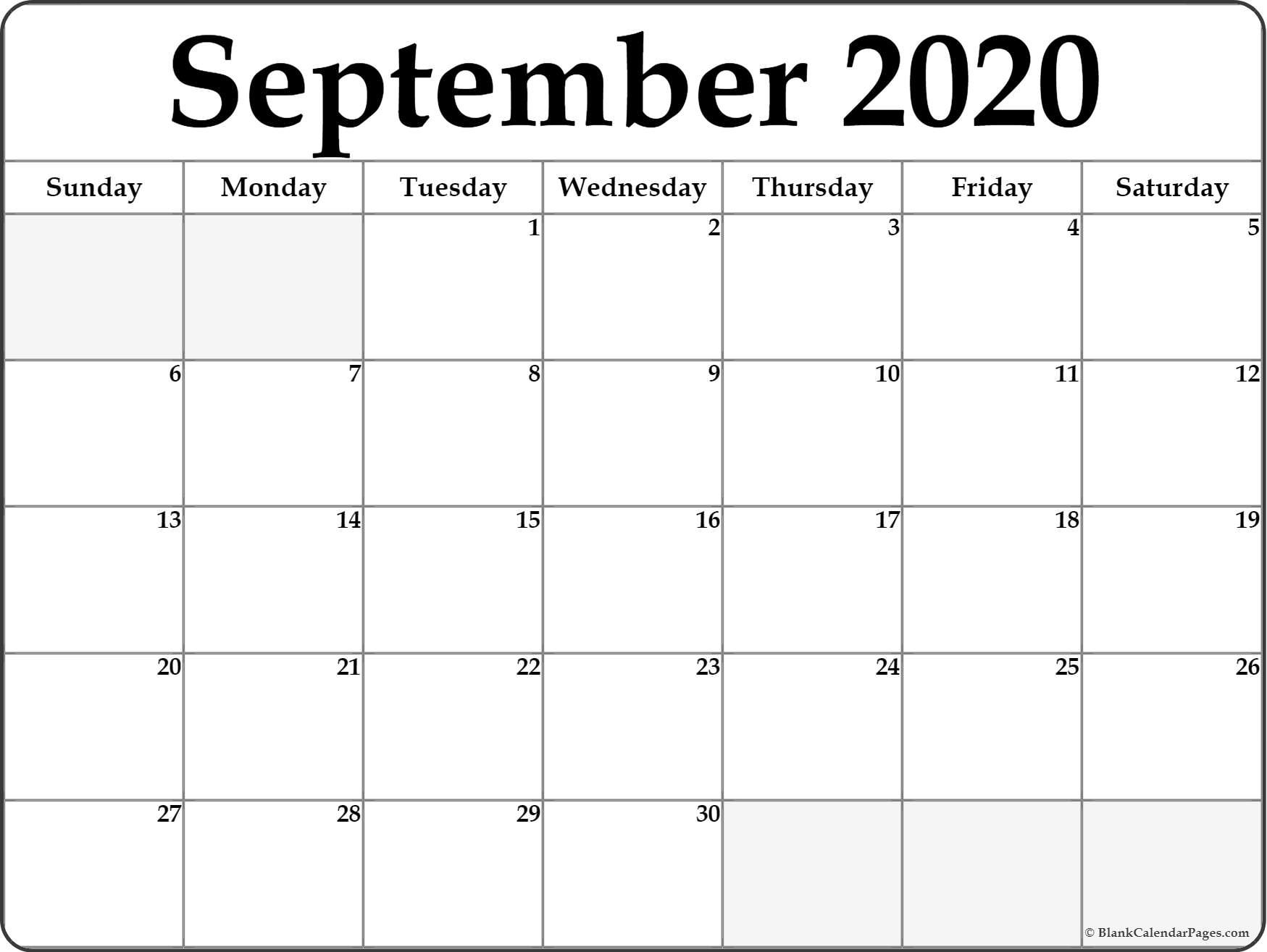 Monthly 2020 Printable Calendar Template Printable Blank