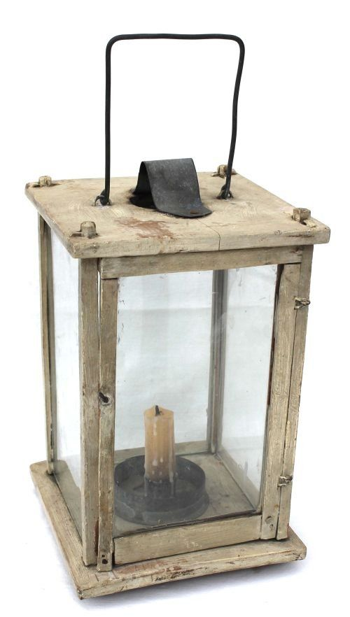207 Ca 1800 Rare Wooden Lantern In Orig White Paint