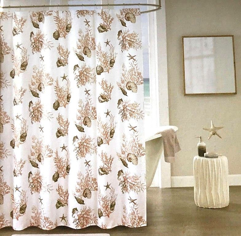 Nanette Lepore Adriatic Shells Fabric Shower Curtain Set With 12