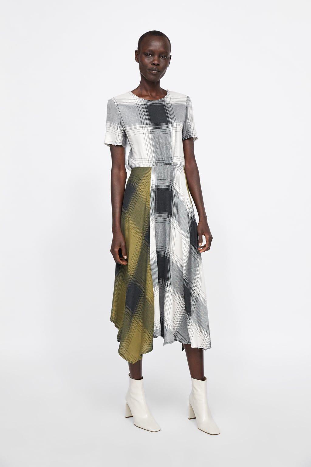 zara - woman - plaid dress | kariertes kleid, karokleid, kleider