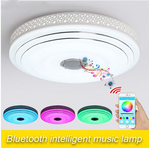 New Modern Dimmable Led Music Flush Mount Ceiling Light With Bluetooth Speaker Mavesan Ceiling Lights Led Ceiling Lights Ceiling Lamp