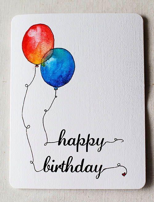 Carte D Anniversaire Aquarelle Ballons Kaart Ideeen Verjaardag