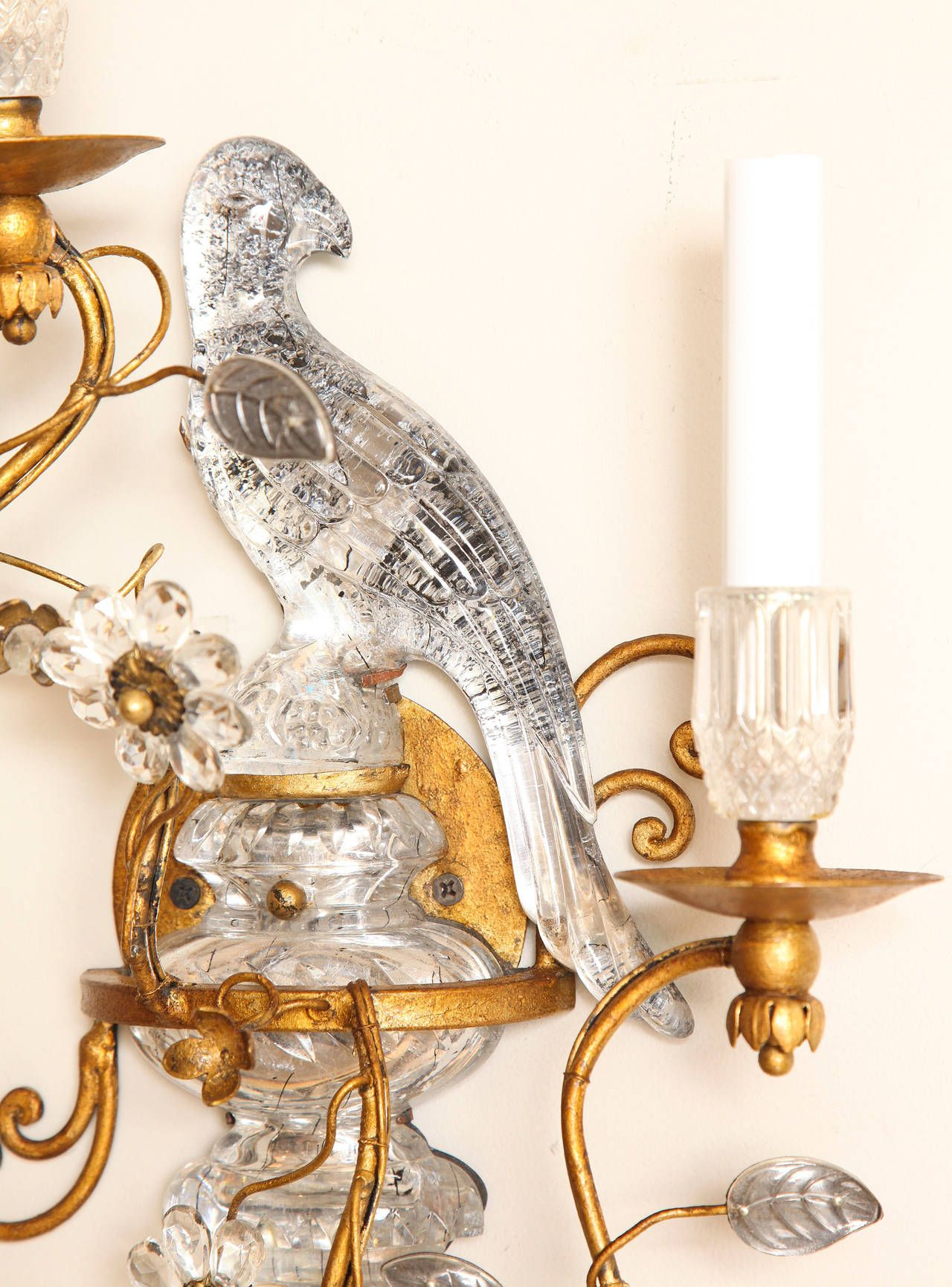 Pair of bagues style crystal and bronze bird sconces wall lights modern wall amipublicfo Image collections