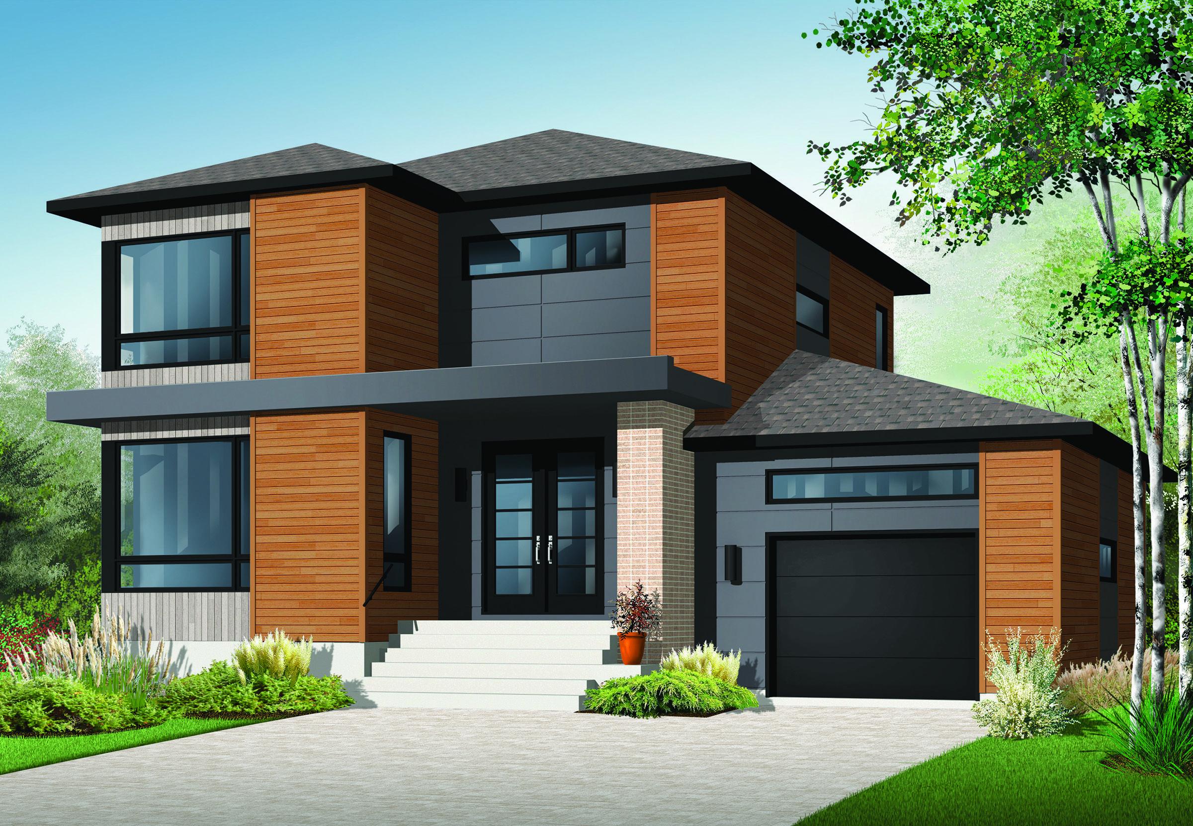 Plan 22322dr Stately Modern With Garage Contemporary House Plans Modern Style House Plans Modern Contemporary House Plans