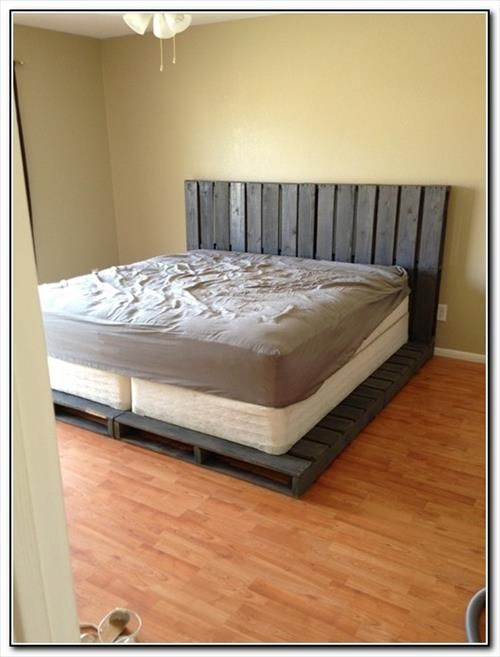 How to Make a Cheap Pallet Bed Frame Wood pallets Bed frames