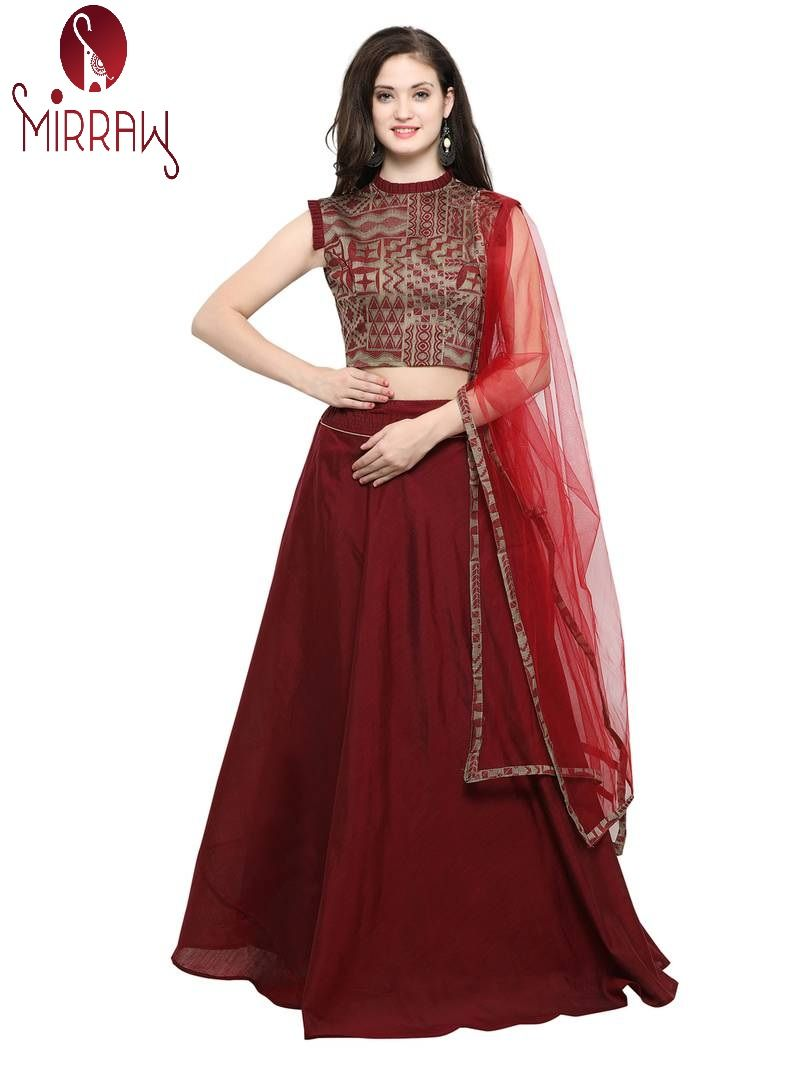Mirraw Offering Stylish And Trendy Maroonlehengacholi At Lowest