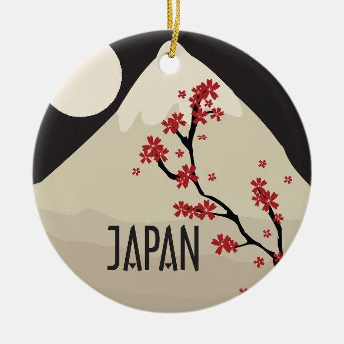 Japan Commemorative Ceramic Ornament - tap/click to personalize and buy #CeramicOrnament #memento #souvenir #christmas #memories #japan