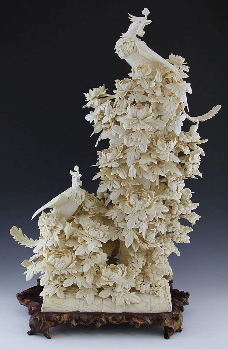 Large chinese ivory phoenix and flowers w cranes a very