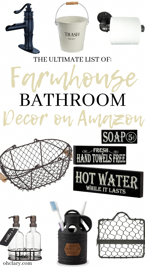 The Ultimate List of Rustic Farmhouse Bathroom Decor on Amazon. Best ideas for farmhouse bathroom accessories, lighting, mirror, vanity, and storage on a small budget. Perfect for any fixer upper or shabby chic style bathroom! #farmhouse #farmhousestyle #farmhousedecor #farmhousebathroom #farmhousebathroomdecor #BohemianBedroomDecor