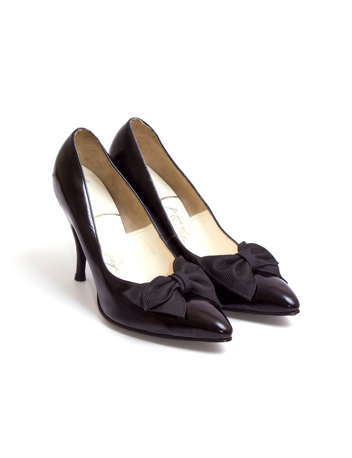 1950s Vintage Black Patent Leather Designer Pumps, Midcentury 50s Black Bows Stiletto Fashion Noir Heels by Julianelli 6B