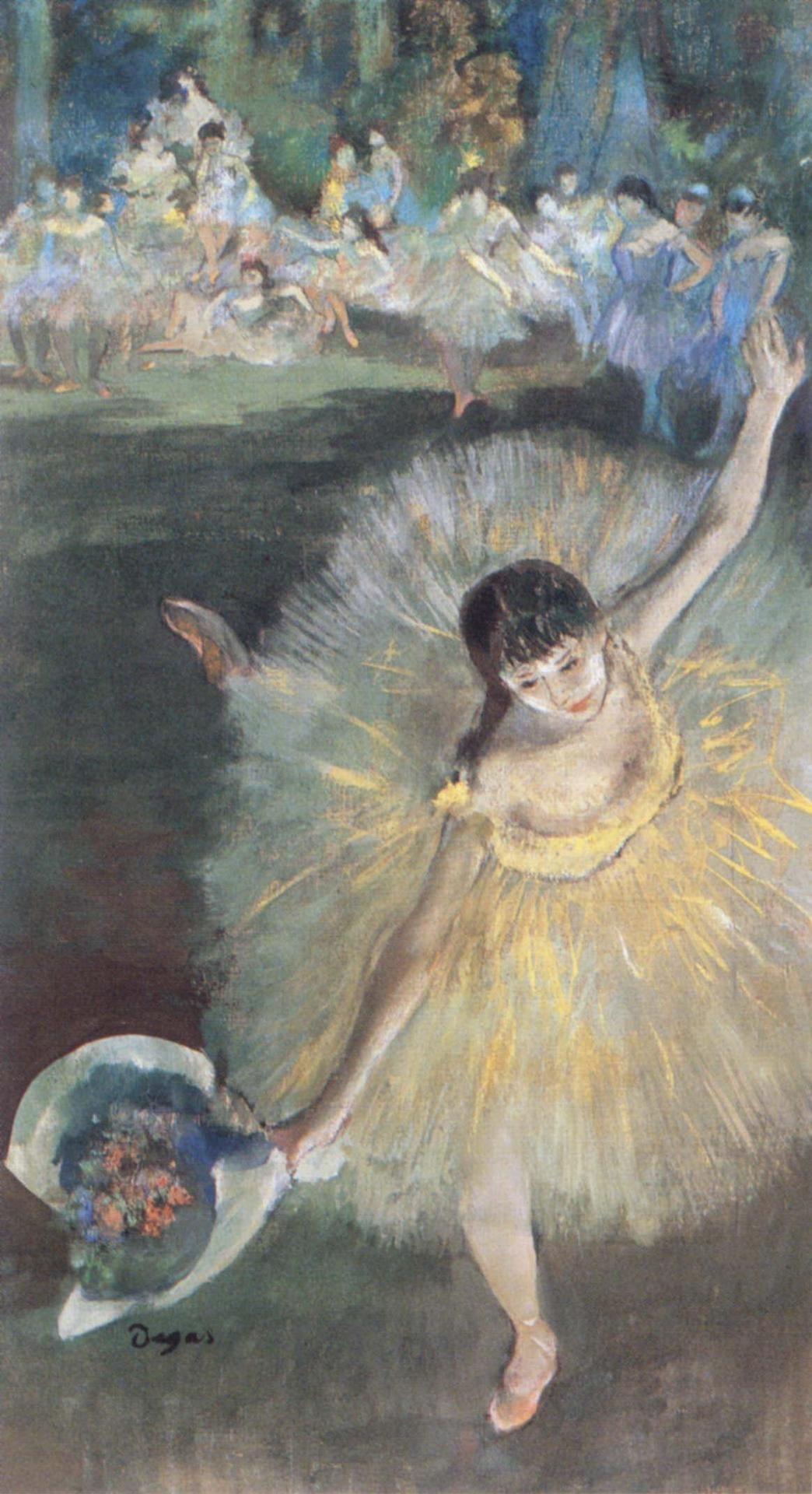 Fin d'Arabesque, ballerina Rosita Mauri (c. 1877). Edgar Degas (French, 1834-1917). Pastel, essence and oil on paper. Paris, Musée d'Orsay.