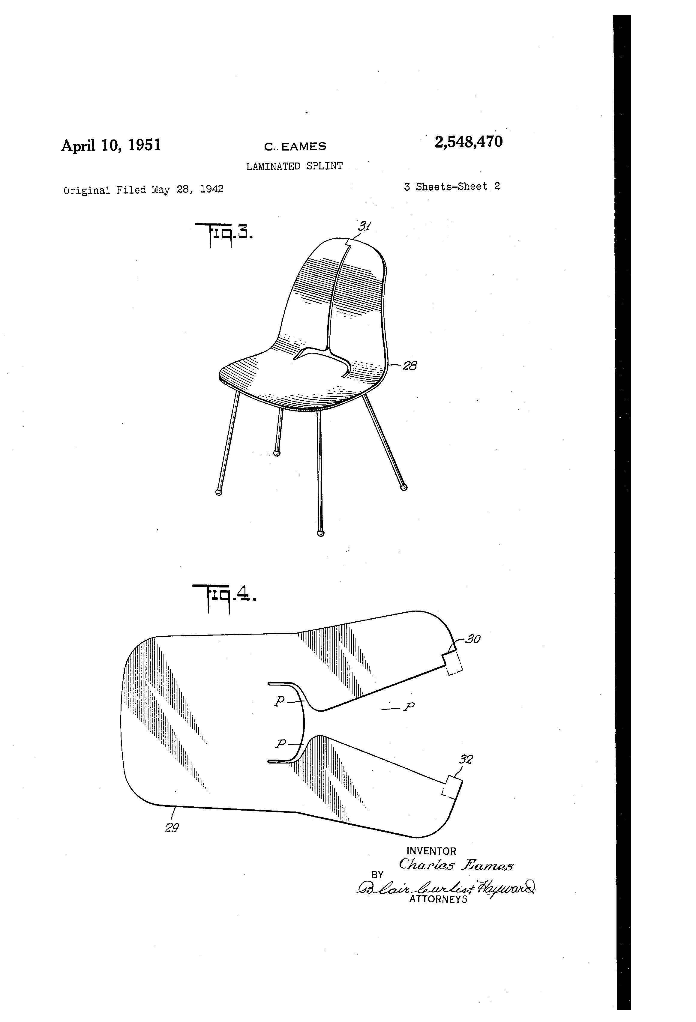 early eames plywood chair model  patented