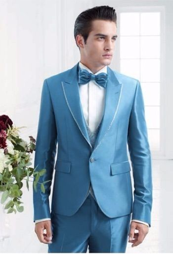 Click to Buy << Latest Coat Pant Designs Light Blue Satin Groom Men ...